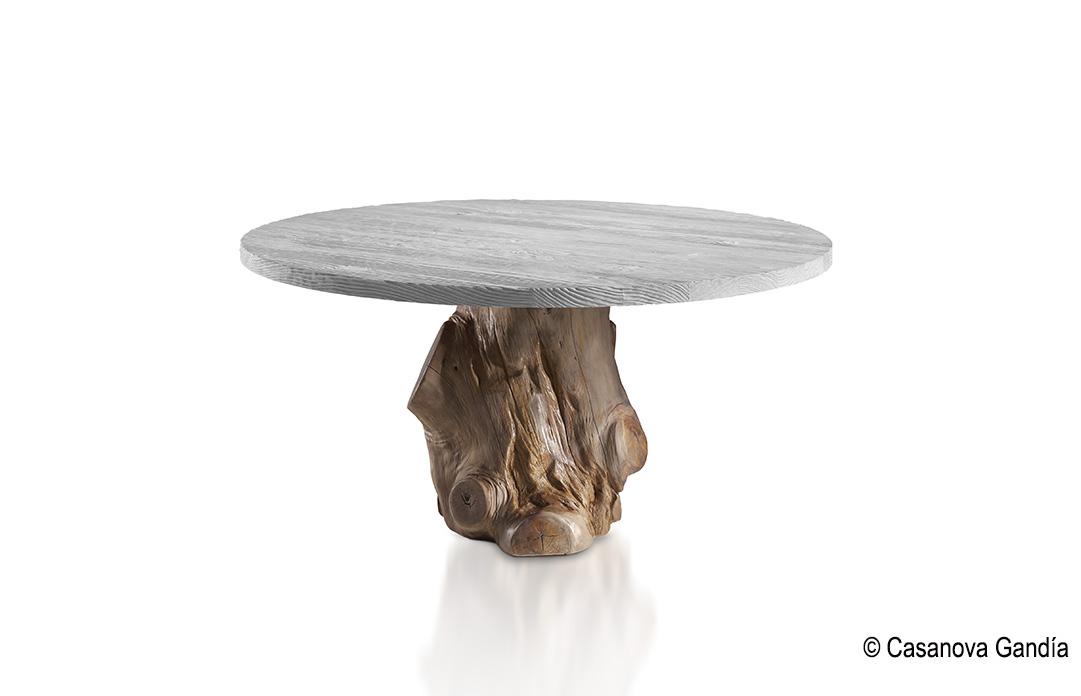 Mesa comedor redonda pie tronco