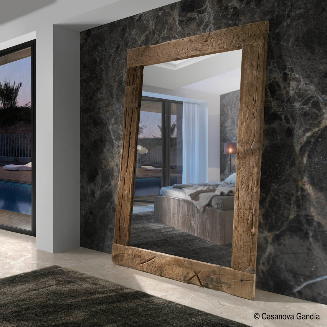 casanova gandia espejo probador madera natural - Espejos De Madera