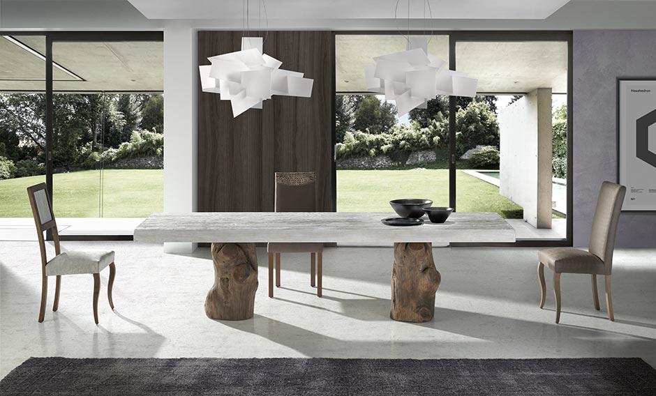 mesa comedor actual pata tronco natural